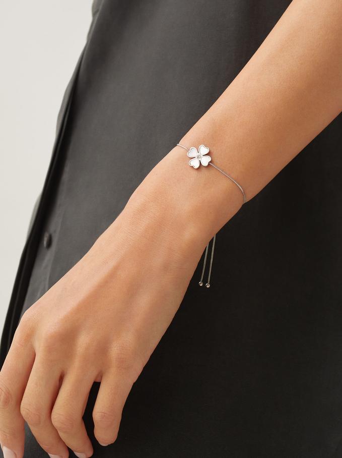 Adjustable Stainless Steel Bracelet With Cloverleaf, Silver, hi-res