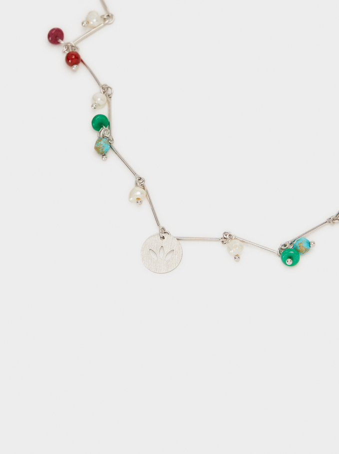 Short Necklace With Pendants, Multicolor, hi-res