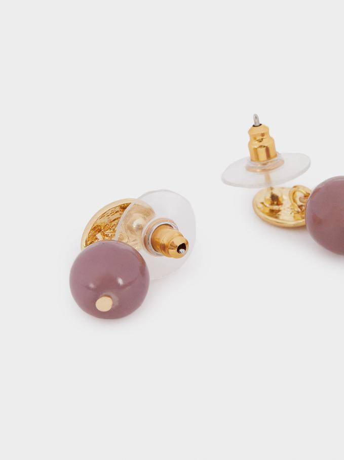 Stone Stud Earrings, Violet, hi-res