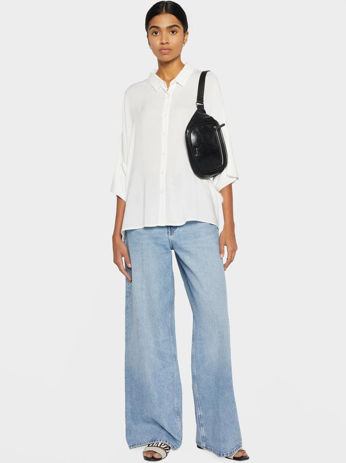 Plain Oversized Shirt, White, hi-res