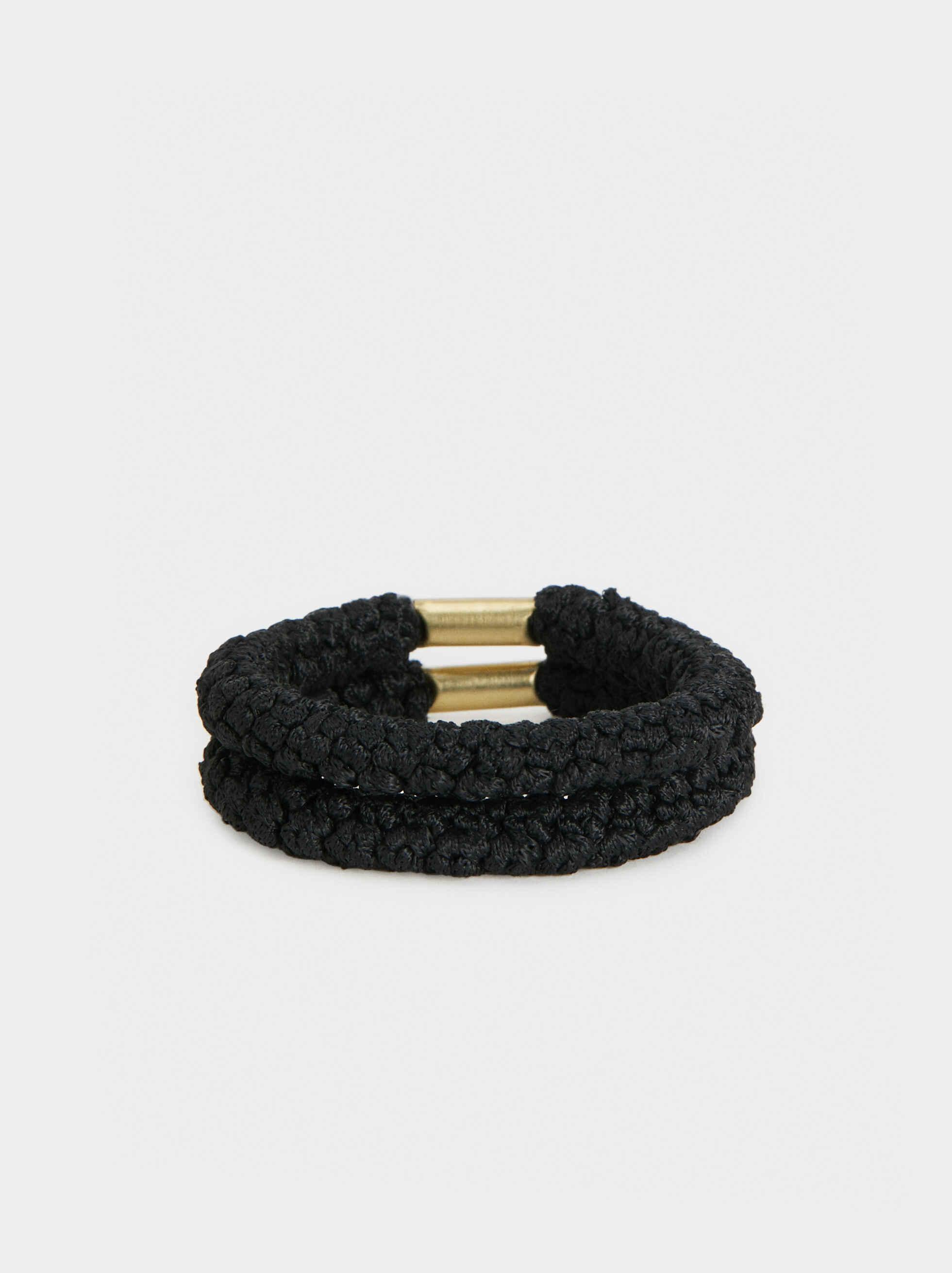 Basic Hair Tie Set, Black, hi-res