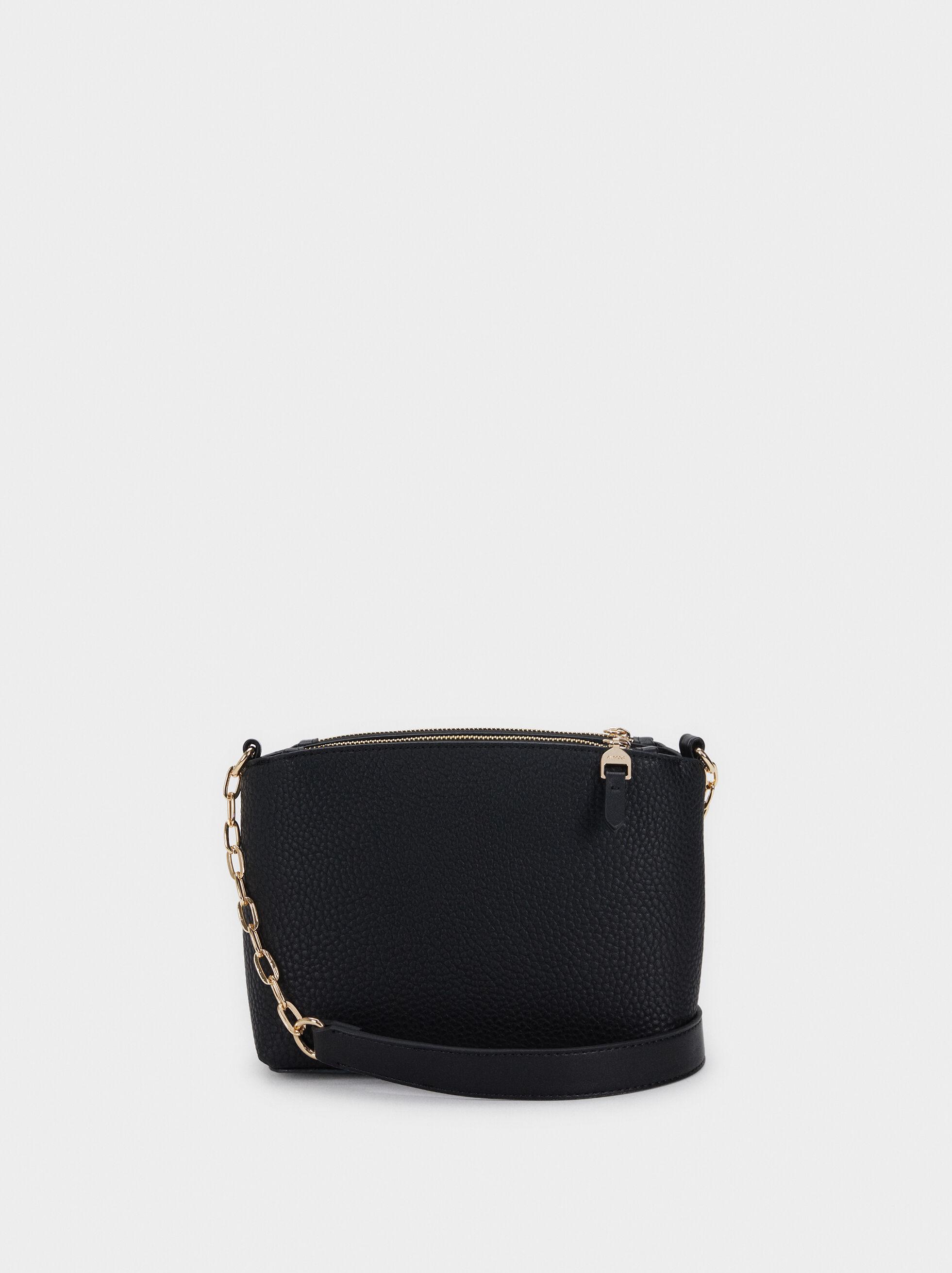 Textured Shoulder Bag, Black, hi-res
