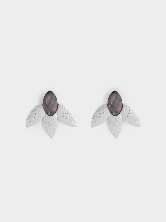Medium Flower Earrings, Silver, hi-res