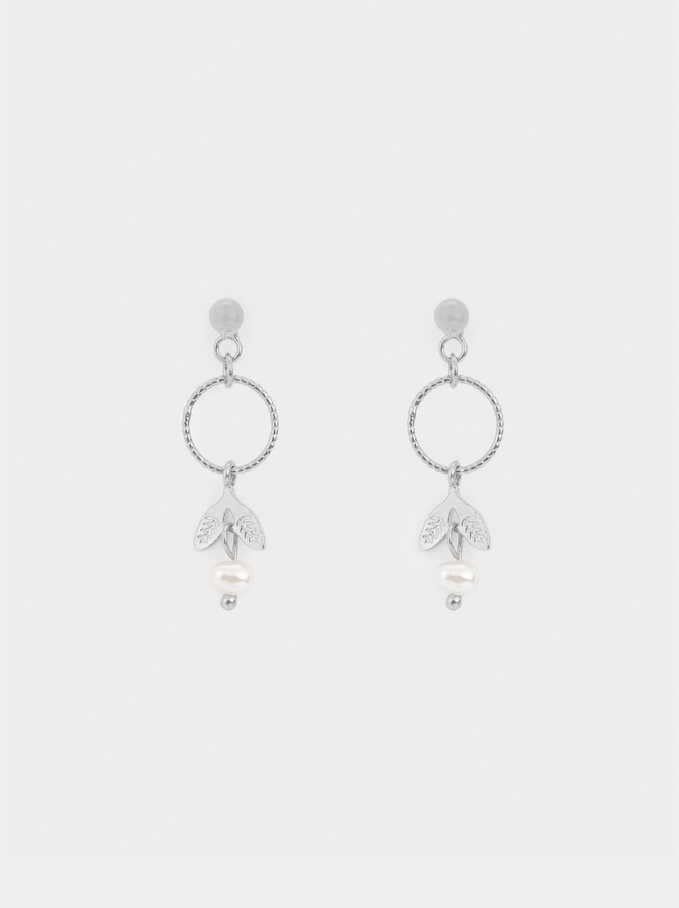 925 Silver Long Earrings, Beige, hi-res