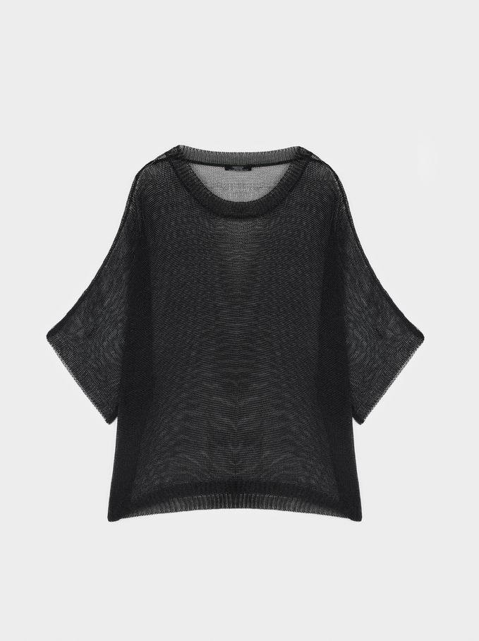 Oversized Knit Sweater, Black, hi-res