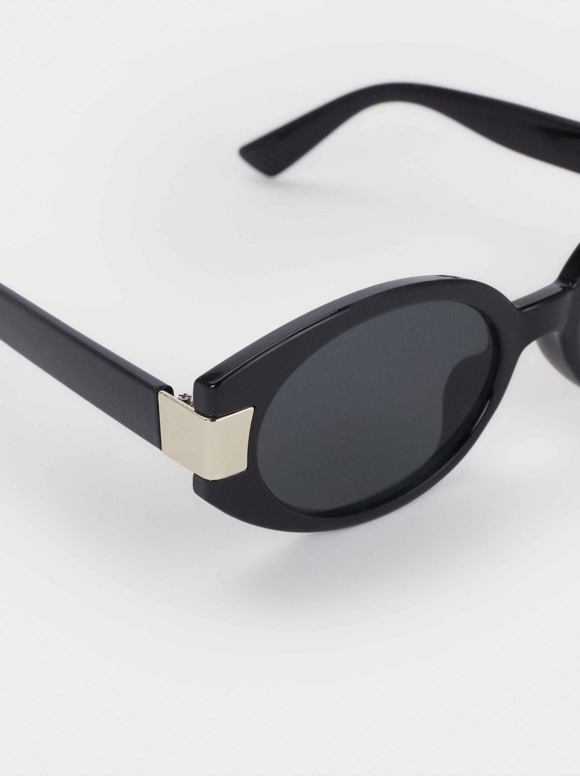 Gafas De Sol Ovaladas Detalle Metálico, Negro, hi-res