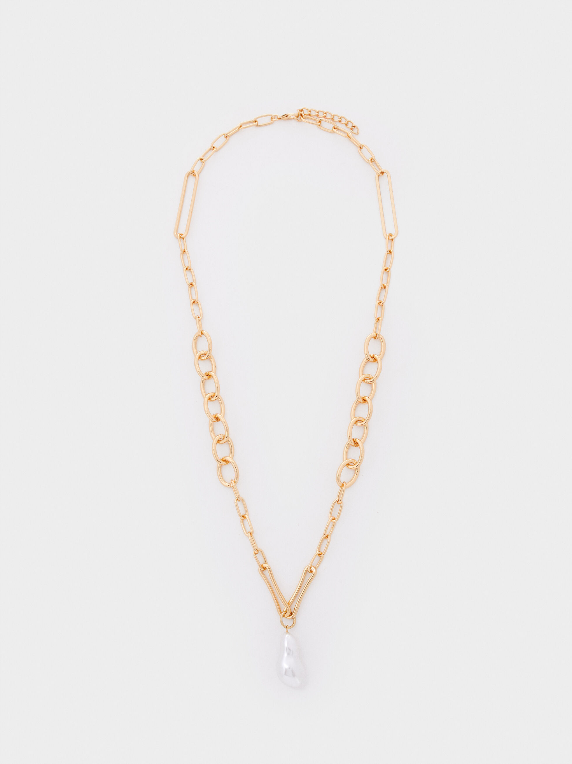 Long Gold Chain Faux Pearl Necklace, Golden, hi-res