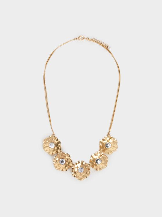 Short Necklace With Flower Motifs, , hi-res