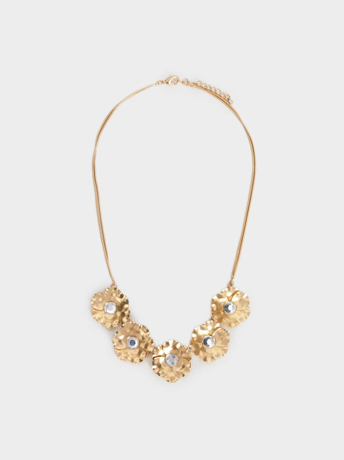 Short Necklace With Flower Motifs, Golden, hi-res