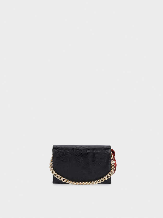 Embossed Party Hand Bag With Handkerchief, Black, hi-res