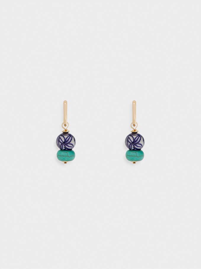 Hoop Earrings With Stones, Blue, hi-res