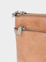 Crossbody Bag With Embossed Animal Print, Pink, hi-res