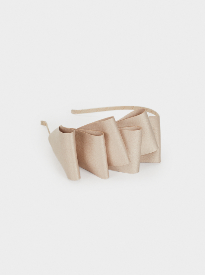 Headband With Bow, Beige, hi-res