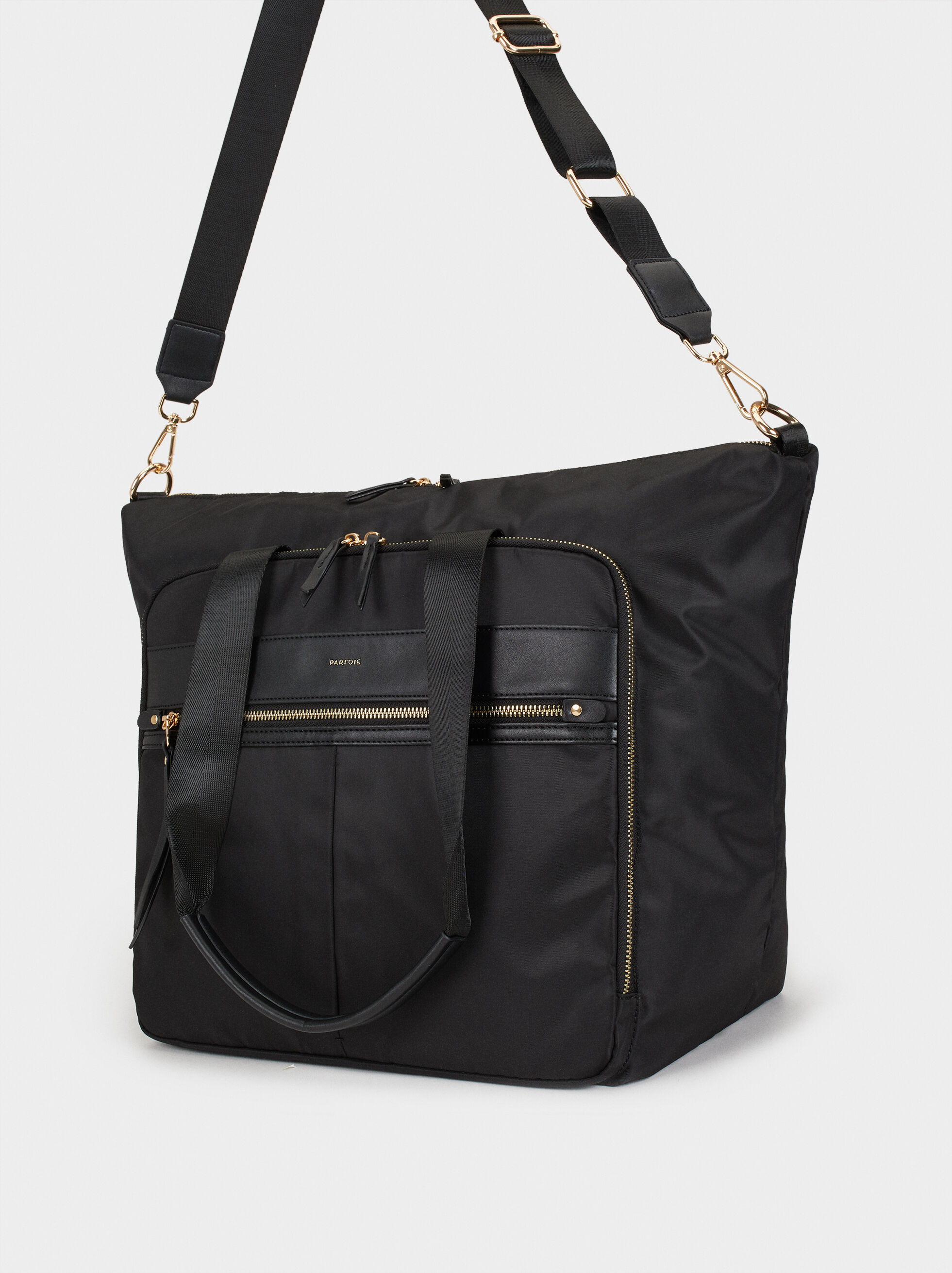 Nylon Weekend Bag, Black, hi-res