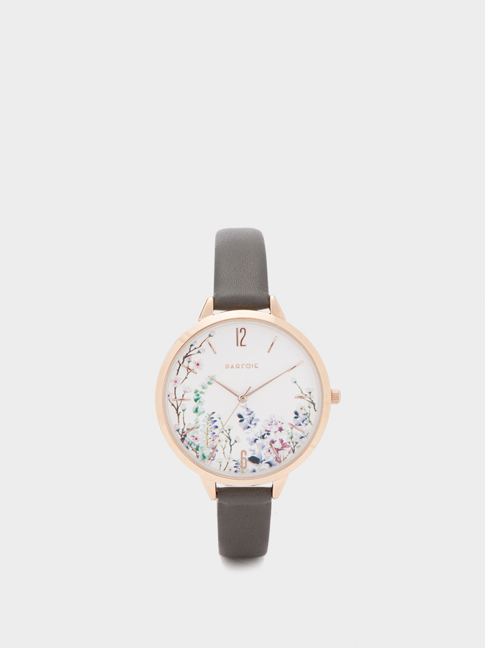 Watch With Floral Face, Khaki, hi-res