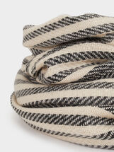 Striped Maxi Scarf, Ecru, hi-res