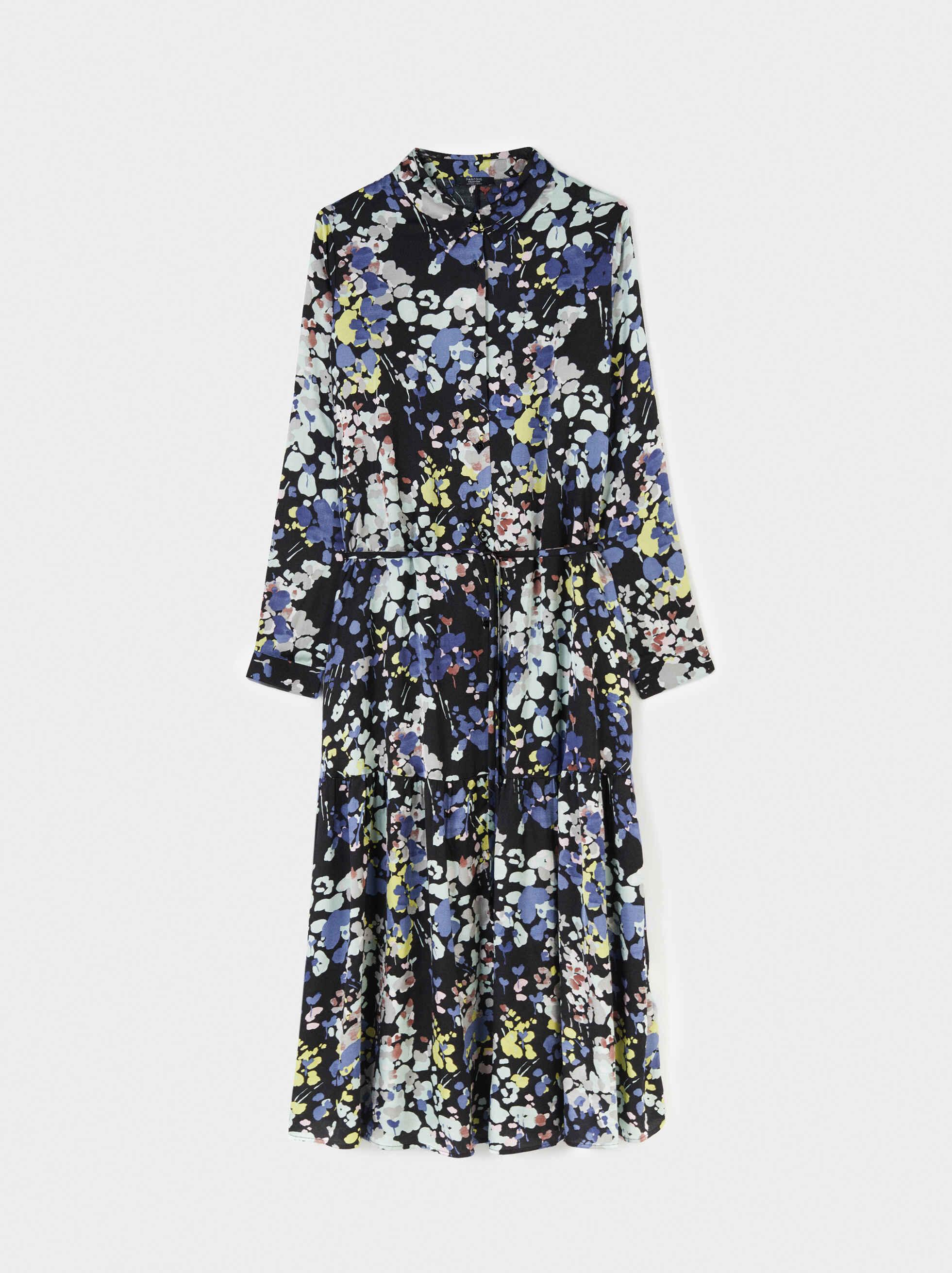 Floral Print Long Sleeve Dress, , hi-res
