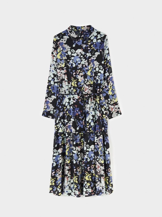 Floral Print Long Sleeve Dress, Black, hi-res