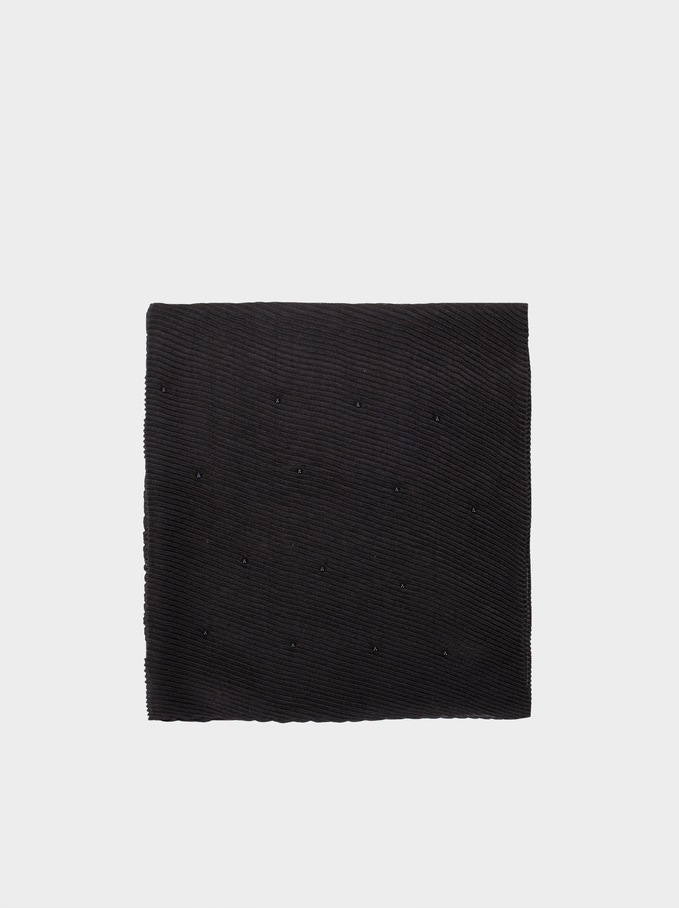 Pleated Scarf, Black, hi-res