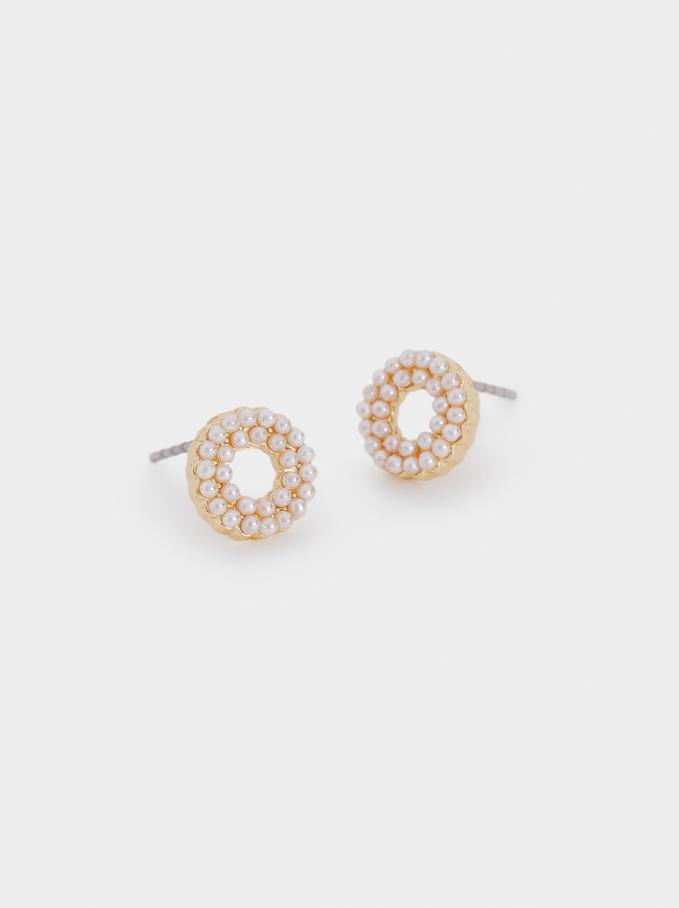 Short Faux Pearl Earrings, Golden, hi-res