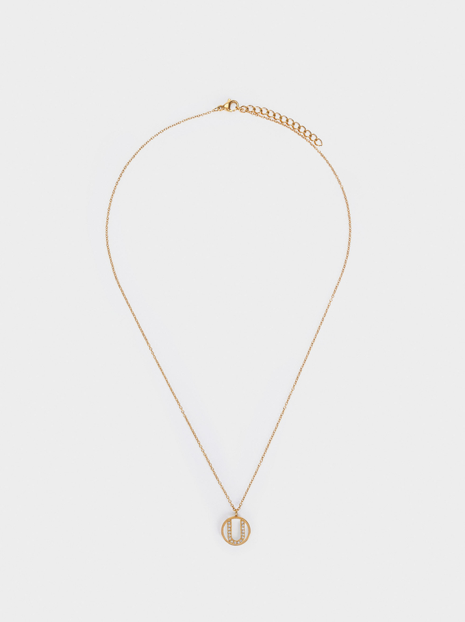 Short Steel Necklace With Letter U, Golden, hi-res