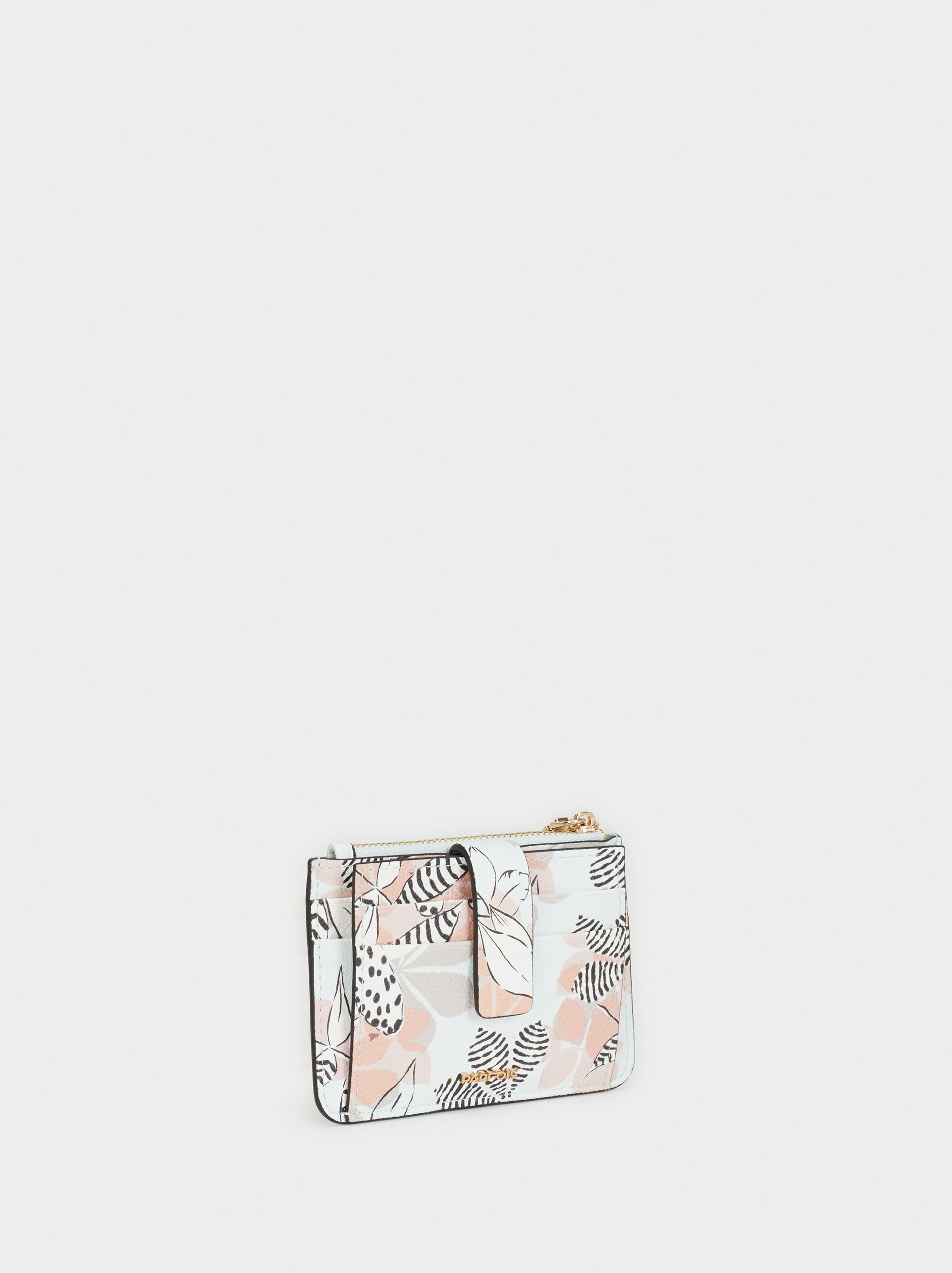 Floral Print Card Holder, Blue, hi-res