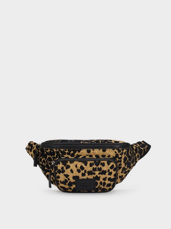 Animal Print Belt Bag, Black, hi-res