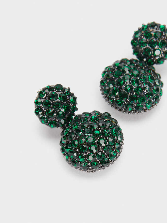 Small Earrings With Crystals, Green, hi-res