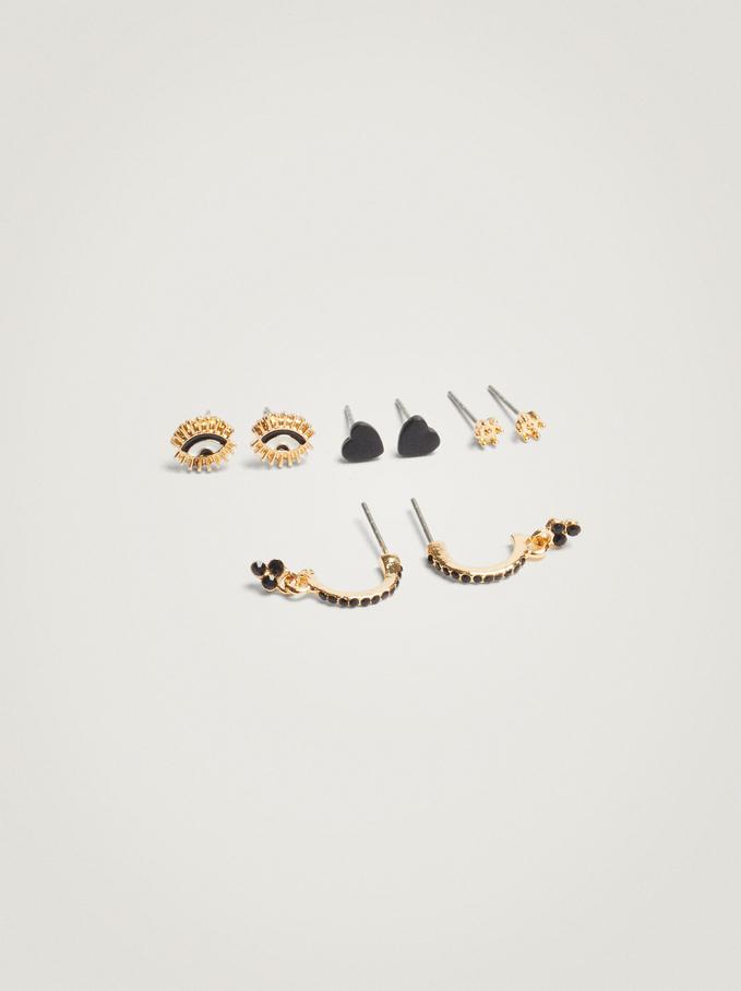 Set Of Hoop Earrings With Charms, Black, hi-res