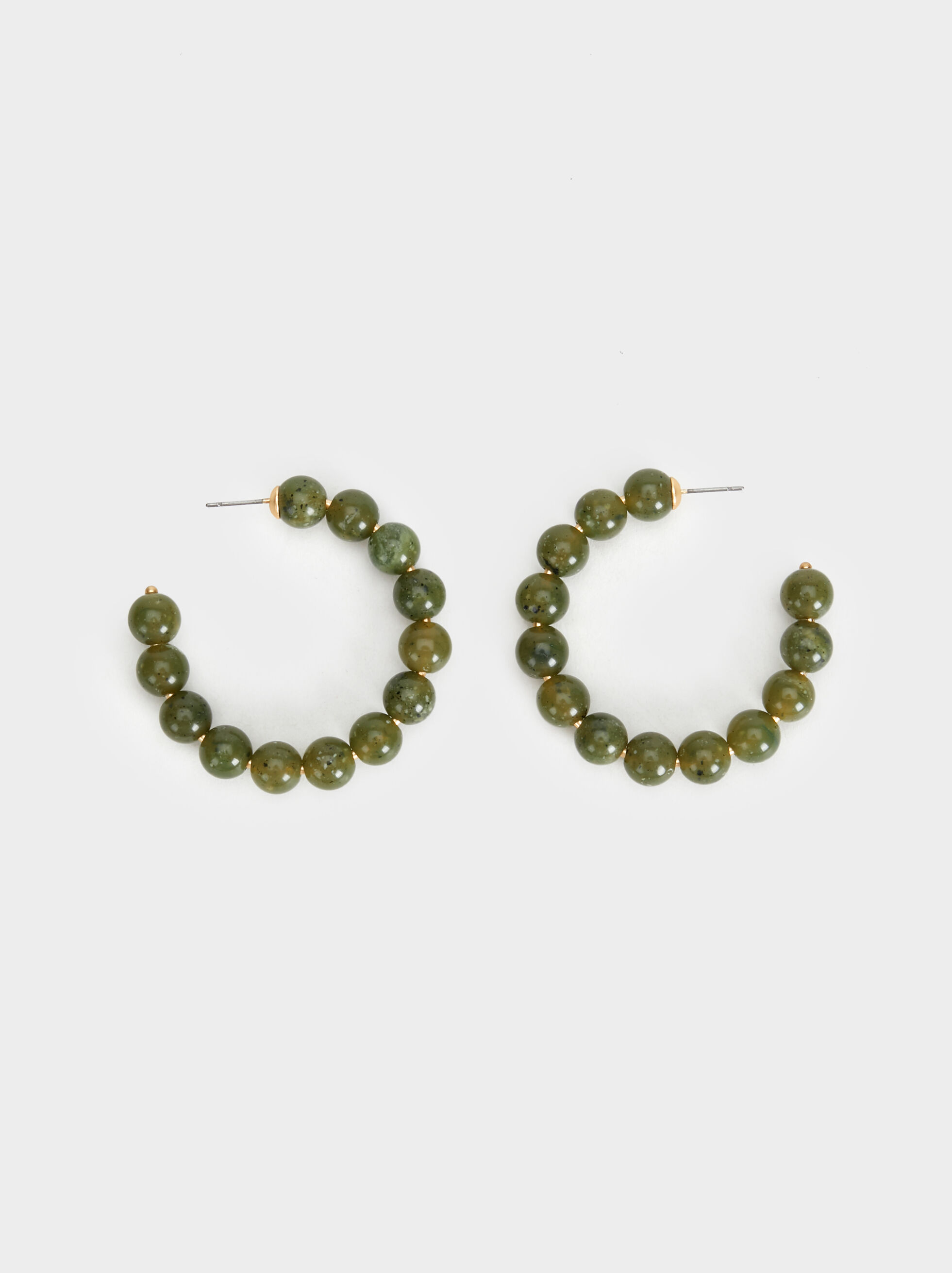 Stone Story Medium Hoop Earrings With Stones, Green, hi-res