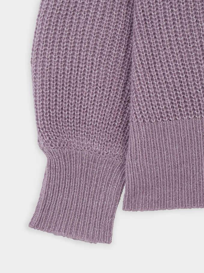 Knitted Cardigan, Violet, hi-res