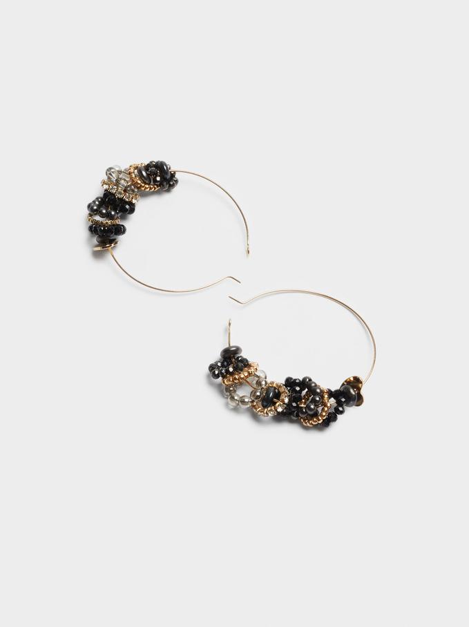Large Hoop Earrings With Beads, Black, hi-res