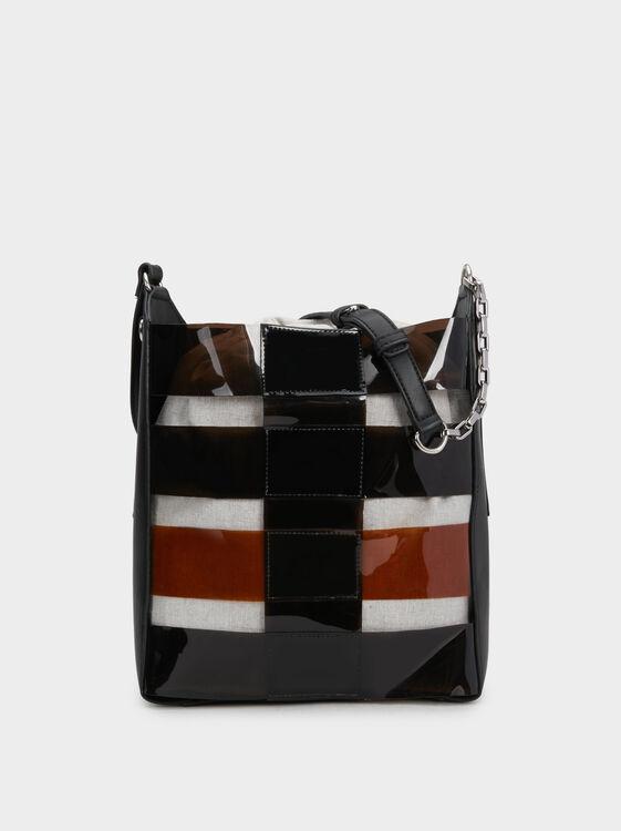 Vinyl Bucket Bag, Black, hi-res
