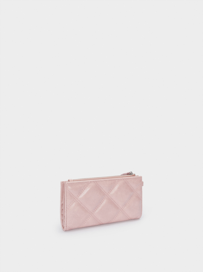 Embossed Wallet With Handle, Pink, hi-res