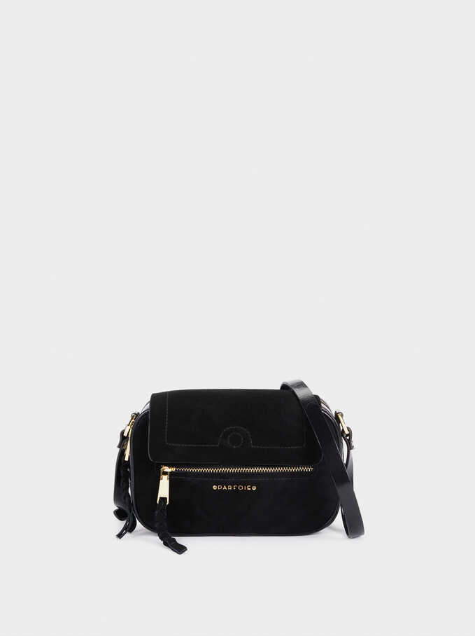Suede Crossbody Bag, Black, hi-res