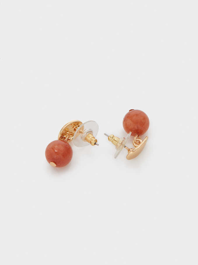 Short Earrings With Multicoloured Stone, Camel, hi-res