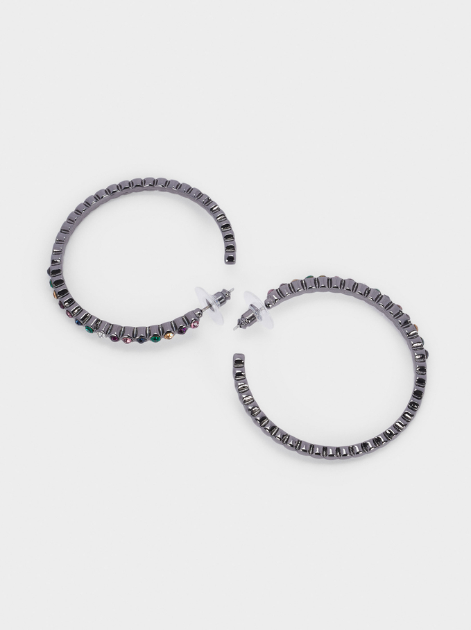Large Hoop Earrings With Crystals, Multicolor, hi-res