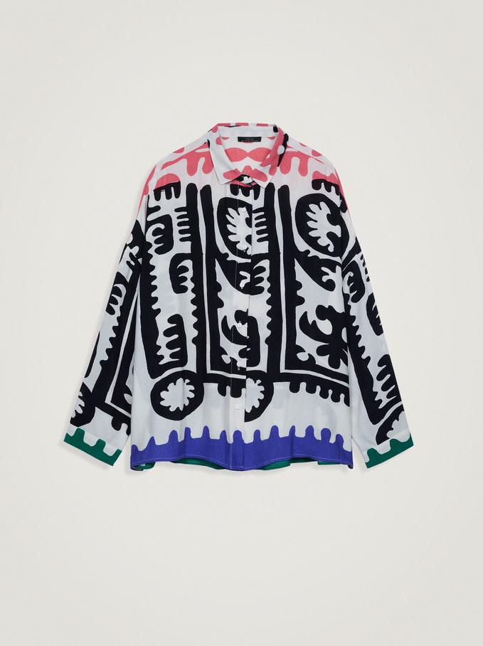 Printed Loose-Fitting Shirt, Multicolor, hi-res