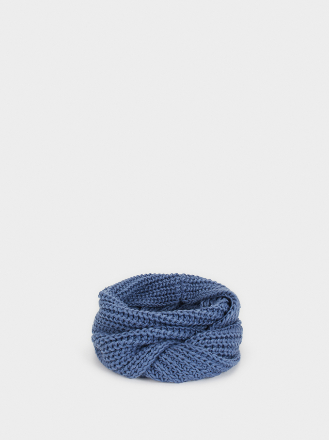 Knit Snood, Blue, hi-res