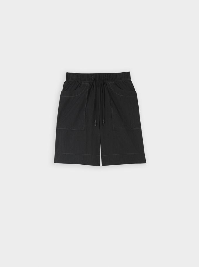 Pantaloncini Di Cotone Con Tasche, Nero, hi-res