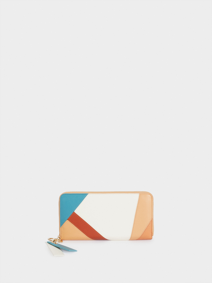 Long Patchwork Wallet, White, hi-res