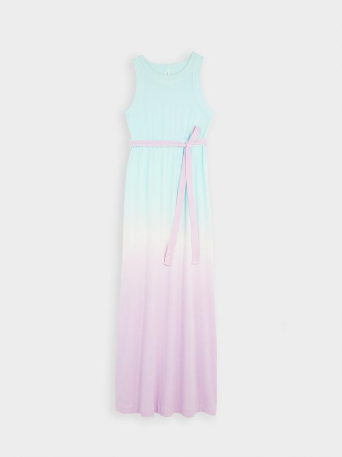 Tie-Dye Long Strap Dress, Green, hi-res