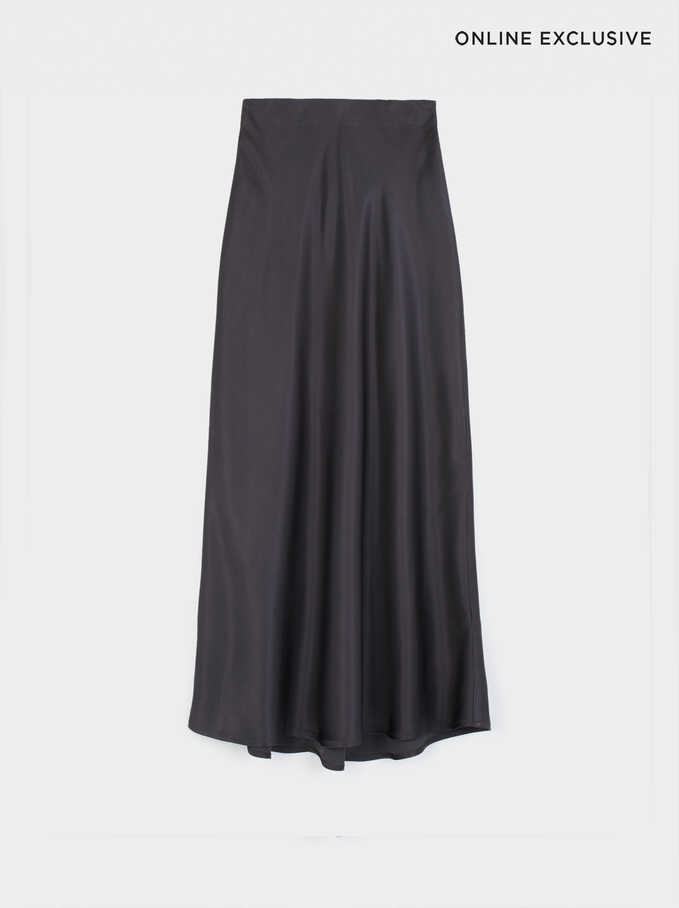 Limited Edition Long Skirt With Elastic Waistband, Green, hi-res