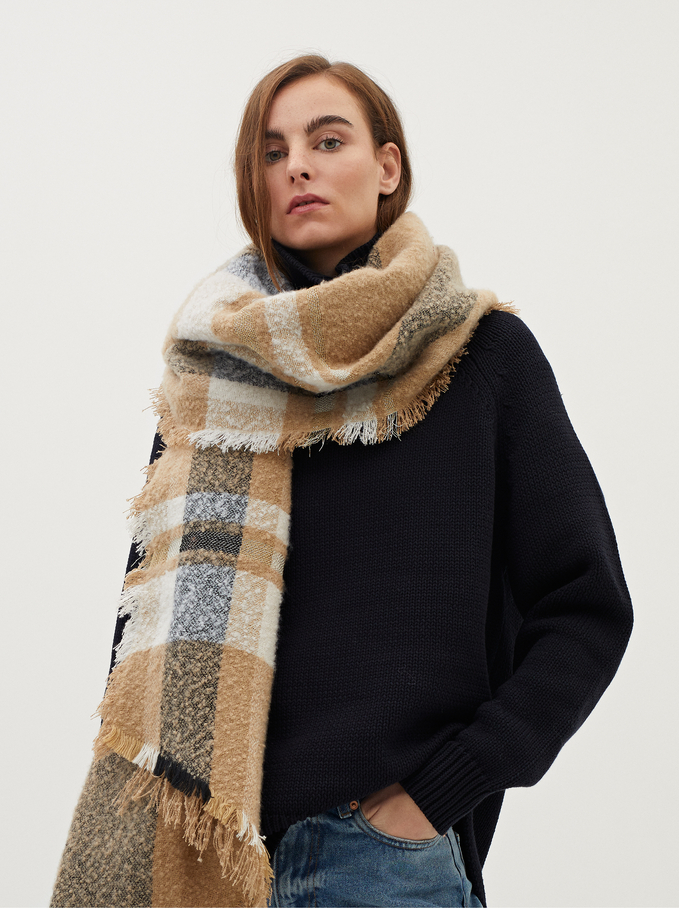 Large Scarf With Multicoloured Check Print, Beige, hi-res