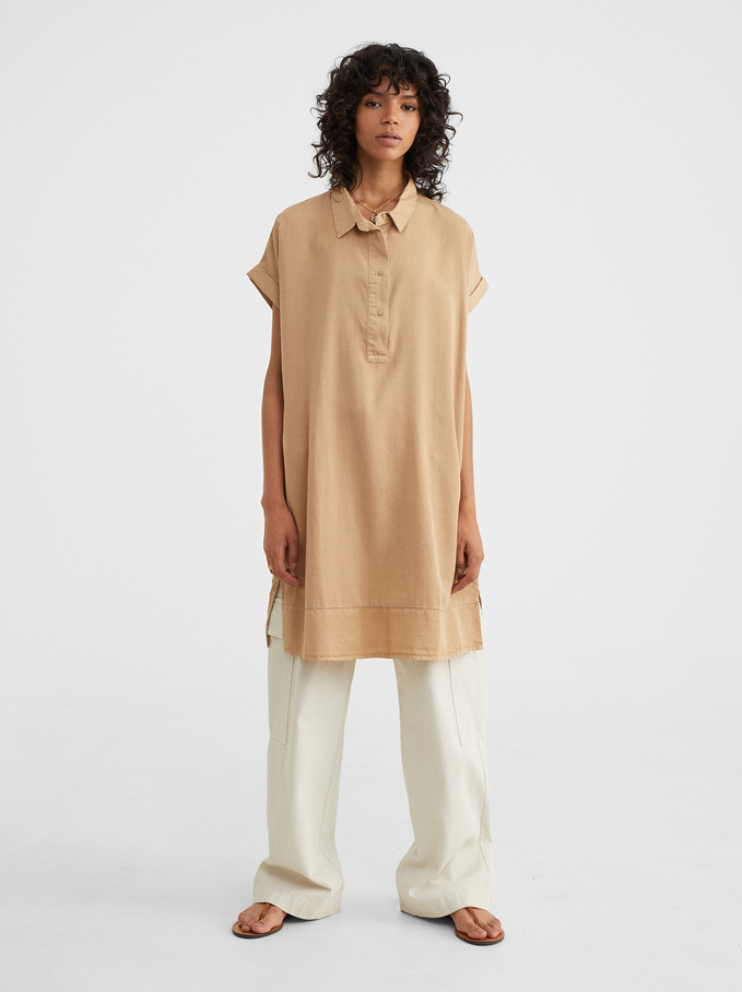 Oversized Loose-Fitting Dress, Beige, hi-res