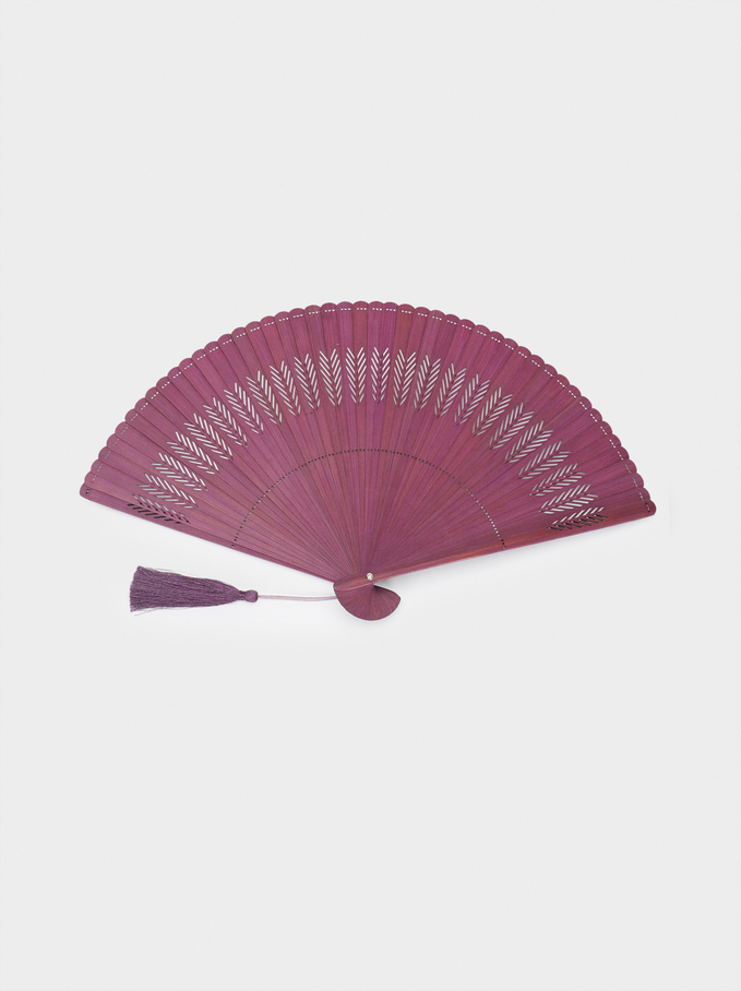 Perforated Fan With Tassel, Purple, hi-res