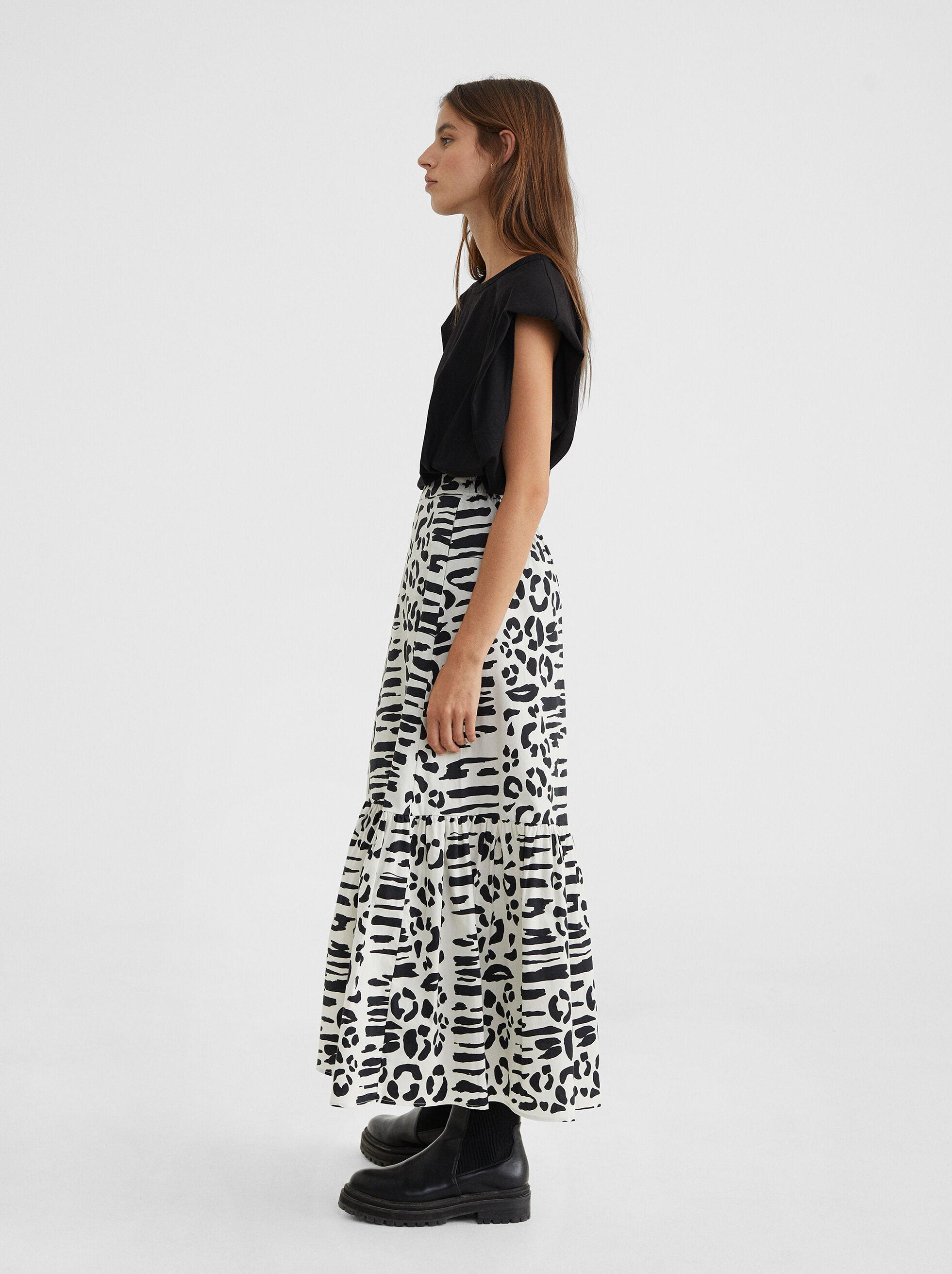 Animal Print Skirt, Blue, hi-res