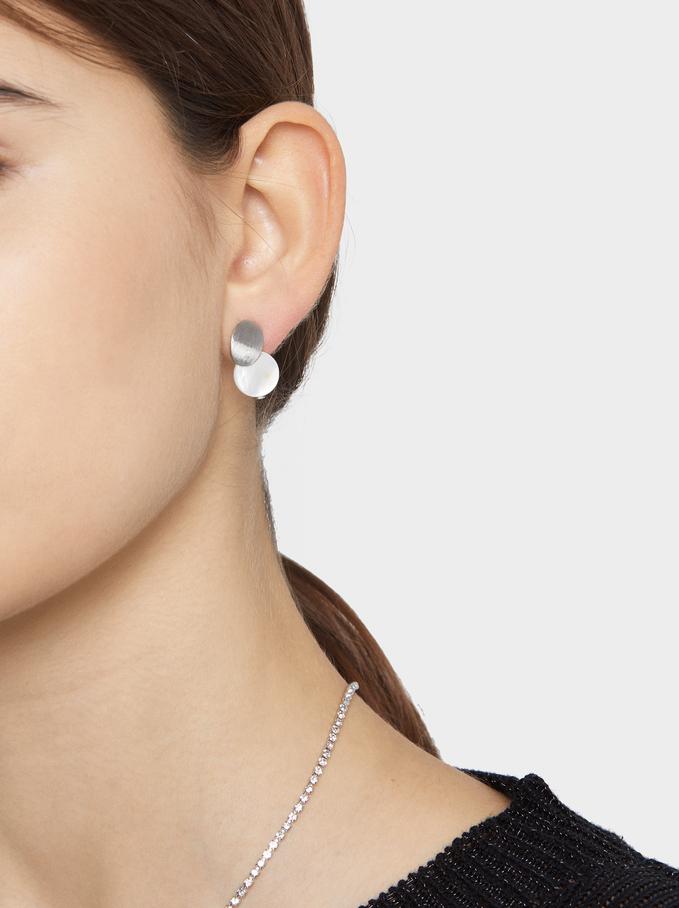 Short Sphere Earrings, Silver, hi-res