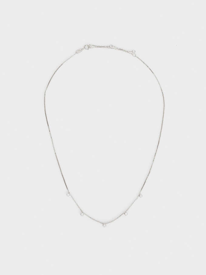 Short 925 Silver Necklace With Rhinestones, Silver, hi-res