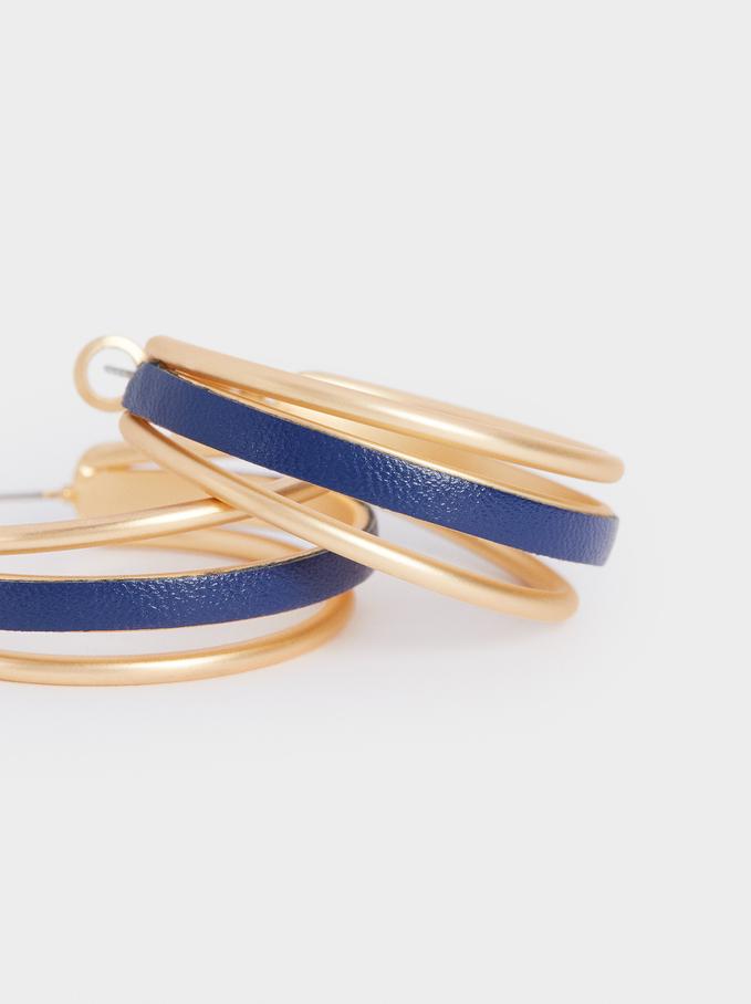Rhinestone Hoop Earrings, Navy, hi-res